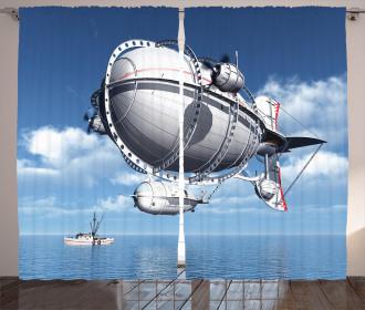 Sea Flying Cloudy Sky Curtain