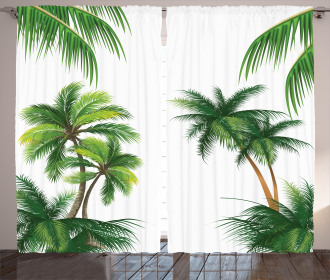 Coconut Palm Tree Plants Curtain