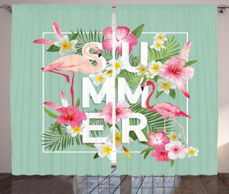 Tropical Retro Flowers Curtain