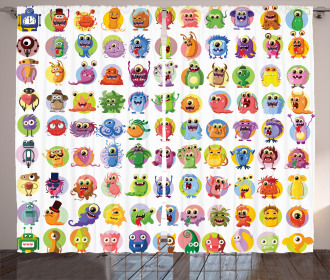 Baby Mosters Cartoon Curtain