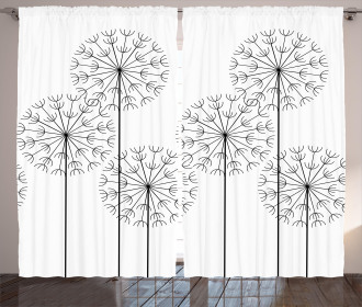 Digital Flower Dandelion Curtain