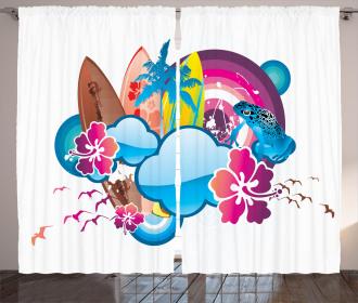 Season Hot Beach Vbes Curtain