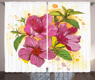 Vibrant Hibiscus Flower Curtain