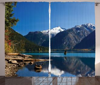Winter Mountain Trees Curtain
