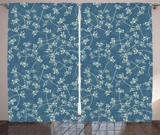 Twiggy Spring Petal Blue Curtain