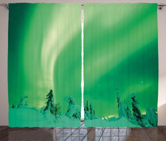 Icy Pine Tree Curtain