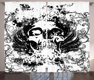 Dark Horror Scary Skull Curtain