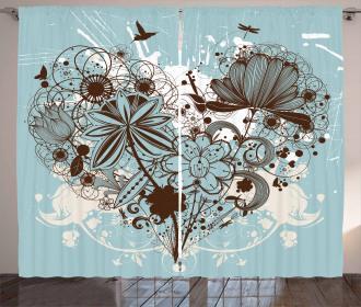 Swirls and Petal Retro Curtain
