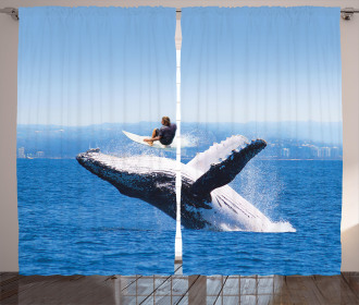 Jumphing Dolphin Surfer Curtain