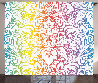 Colorful Damask Flowers Curtain