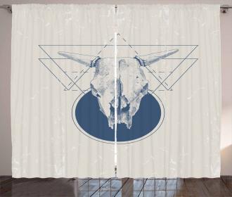 Skull Bull Horns Vintage Curtain