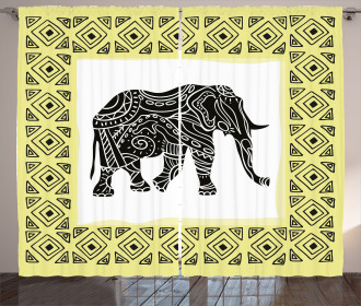 Tribal Animal Graphic Curtain