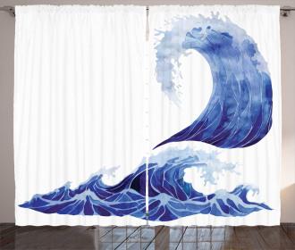 Aquatic Storm Blue Waves Curtain