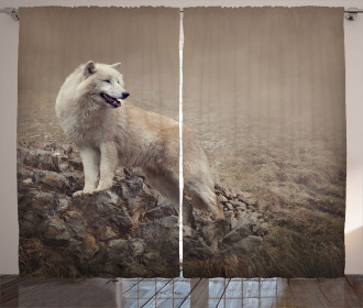 White Wolf on the Rocks Curtain