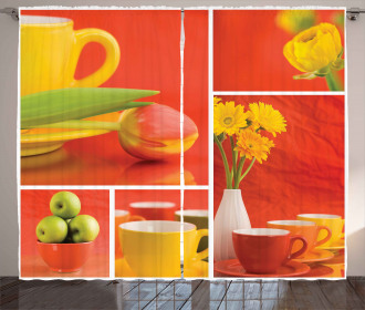 Coffee Cups Tulips Apples Curtain