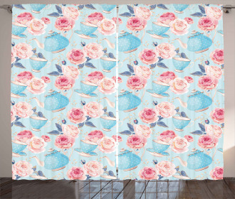 Flowers Roses Teapot Curtain