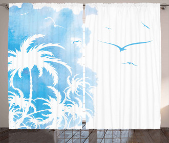 Island Palms Abstract Curtain