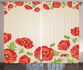 Card with Poppy Flowers Curtain
