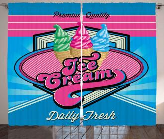 Ice Cream Illustration Curtain