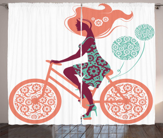Coral Flowers Bikes Girl Curtain