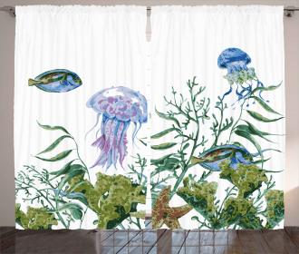 Seaweed Jellyfish Fish Curtain