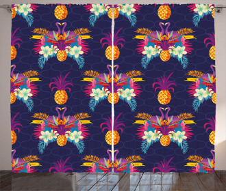 Vivid Flowers Pineapples Curtain