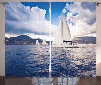 Sailing Boat on Sea Curtain