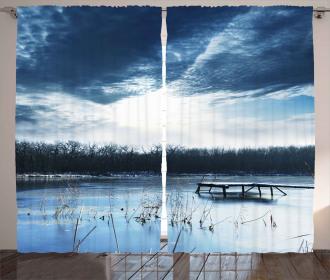 Blue Mountain Lake Scene Curtain