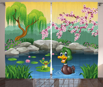Duck and Frog in a Lake Curtain
