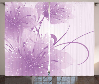 Vector Flowers Butterfly Curtain