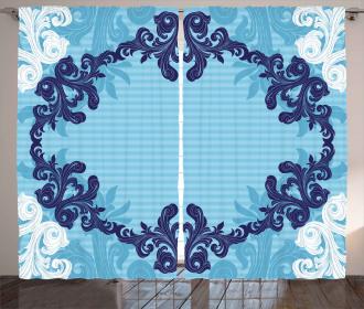 Blue Ornamental Flowers Curtain