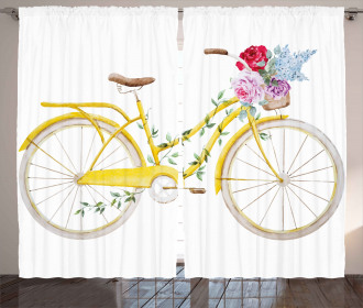 Bicycle with Flowers Curtain