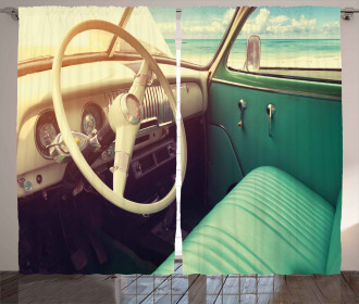 Vintage Car at the Seaside Curtain