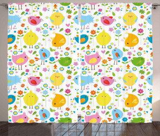 Colorful Birds and Flowers Curtain