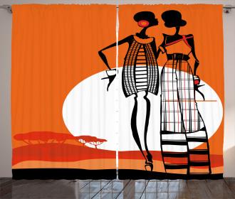 Stylish Women on Desert Curtain