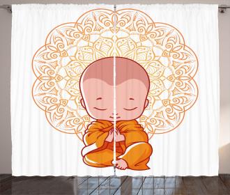 Little Meditating Monk Curtain