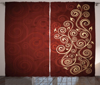 Ombre Flower Swirl Ivy Curtain