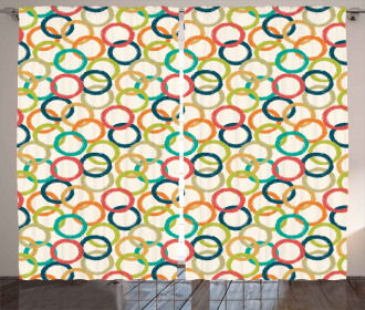 Colorful Doodle Circles Curtain
