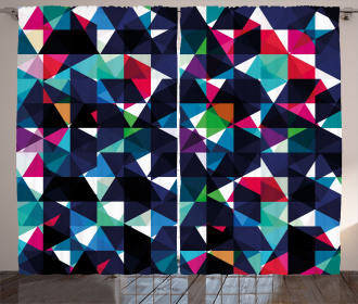 Retro Colorful Mosaic Curtain