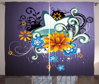 Stars Flowers Swirls Curtain
