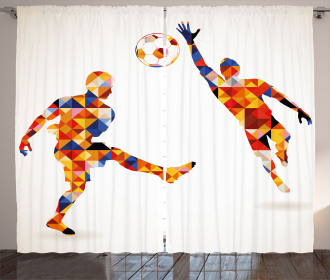 Colorful Footballers Curtain