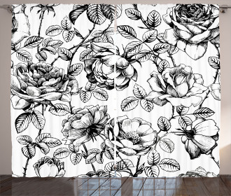 Hand Drawn Rose Petals Curtain