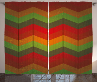 Abstract Zigzag Striped Curtain