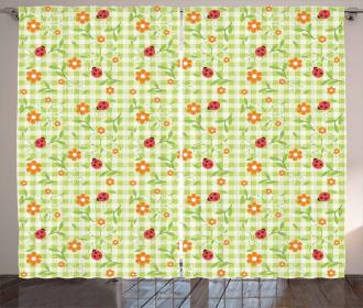 Ladybugs Flowers Leaves Curtain