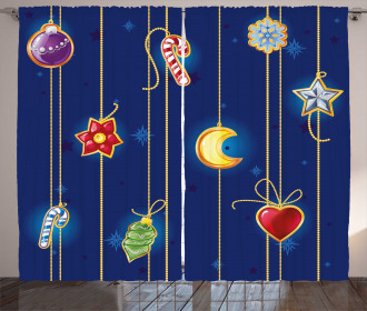 Cute Xmas Objects Art Curtain