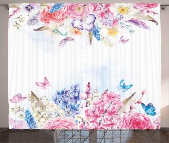 Rose Flower Daisies Curtain