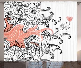 Graphic Swirls Wave Bird Curtain