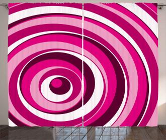 Vibrant Spiral Circles Curtain