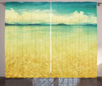 Vintage Grunge Sea View Curtain
