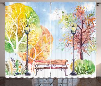 Autumn Park Tree Lantern Curtain